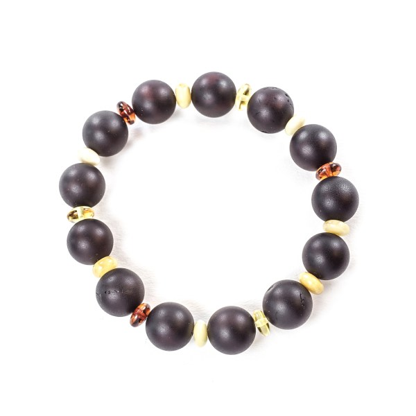Round beads amber bracelet top view