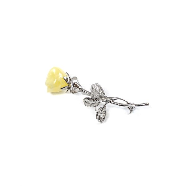 Brooch Rose With Yellow Amber