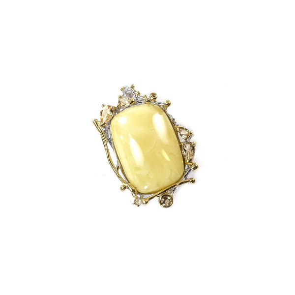Butterscotch Amber Pendant in Silver Frame With Gemstones