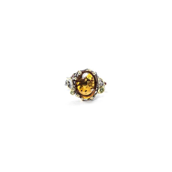 Elegant ring in silver with amber and gemstones