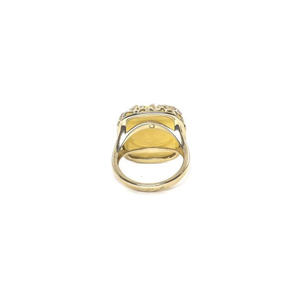 Gold Ring with Yellow Amber Back