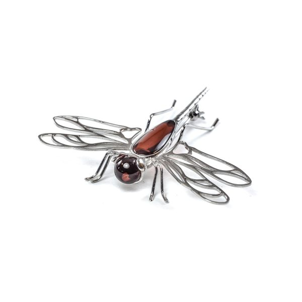 Silver Brooch With Cherry Amber