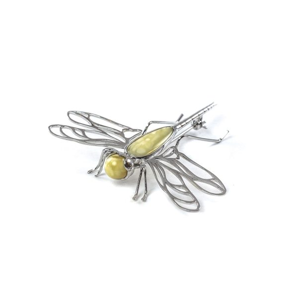 Silver Brooch With Yellow Amber