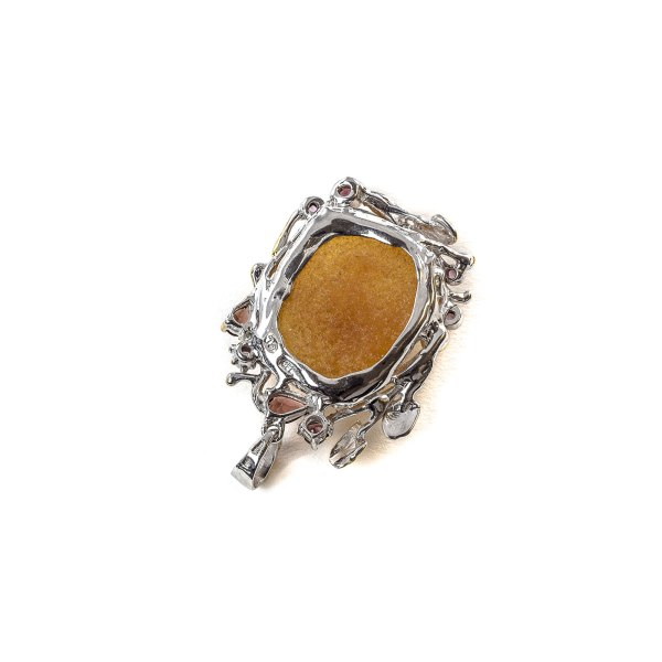 Pendant with Amber and Gemstones Backside