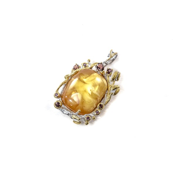 Pendant with Amber and Gemstones