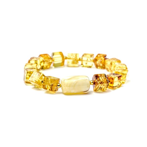 Square Amber Beads Bracelet
