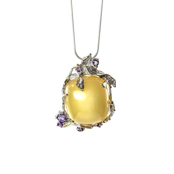 Amethyst Pendant in Silver with Amber with Necklace