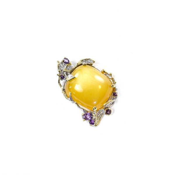 Amethyst Pendant in Silver with Amber