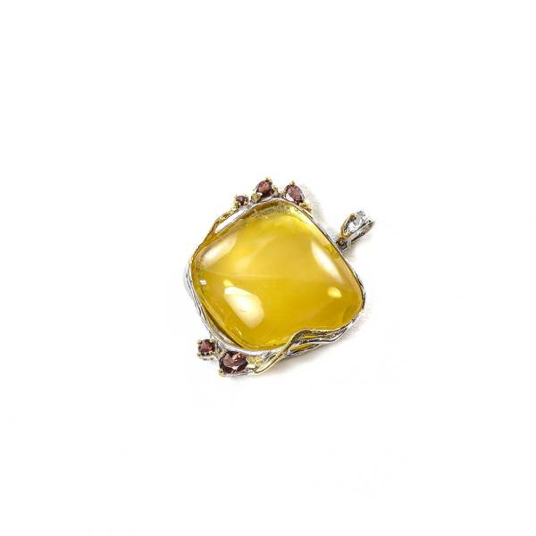 Classic Pendant with Silver Amber and Garnet