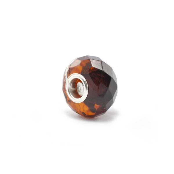 Amber Charm Cherry Faceted Bead Side