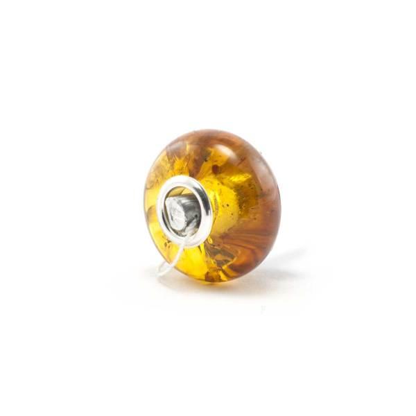 Amber Charm Cognac Bead Side
