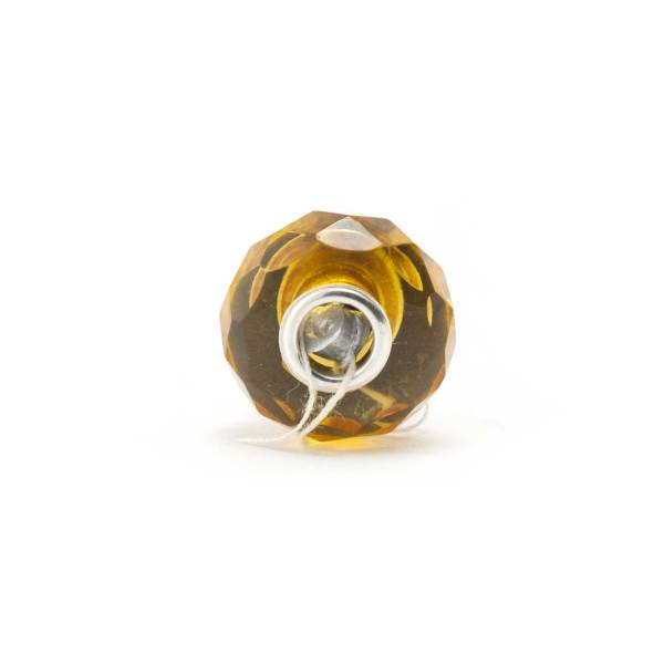 Amber Charm Yellow Faceted Bead Front
