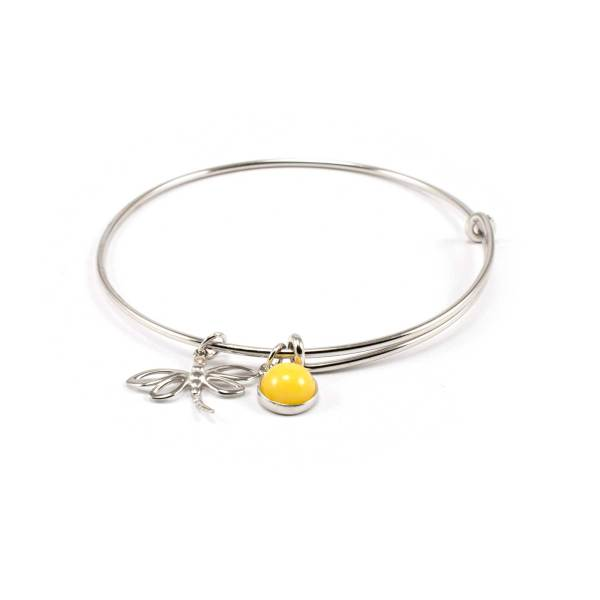 Sterling Silver Bracelet with Amber and Dragonfly Pendant