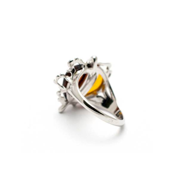 Sterling Silver Ring With Two Amber Stones Backside