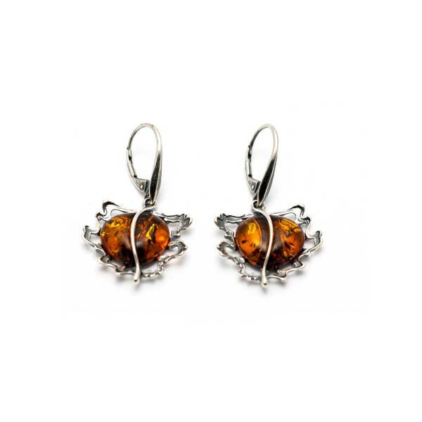 Vintage Cognac Color Amber Earrings