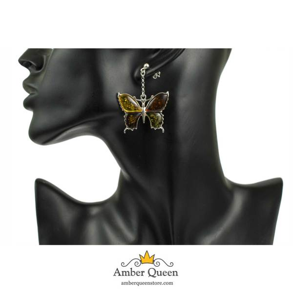 Silver Butterfly Earrings with Multi Color Amber on Mannequin