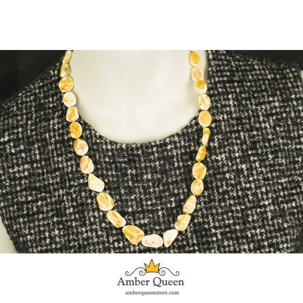 Raw Polished Amber Necklace on Mannequin Close