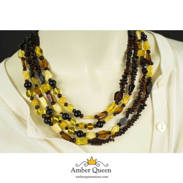 Long Beads Natural Amber Necklace on Mannequin Close