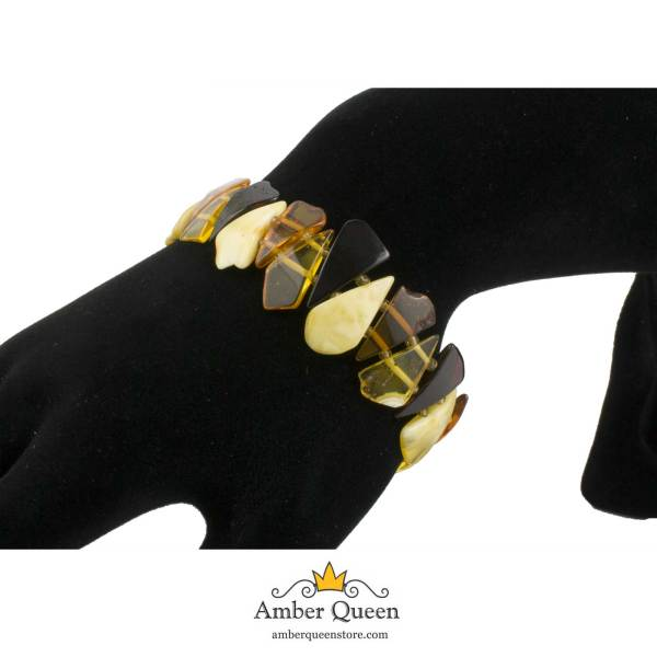 Colorful Amber Bracelet on Hand