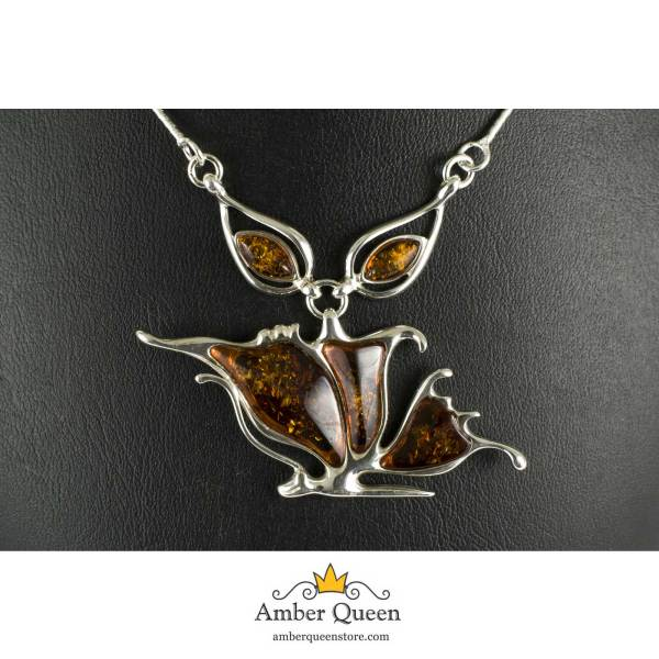Silver Necklace with Sparkling Cognac Amber Stone Close