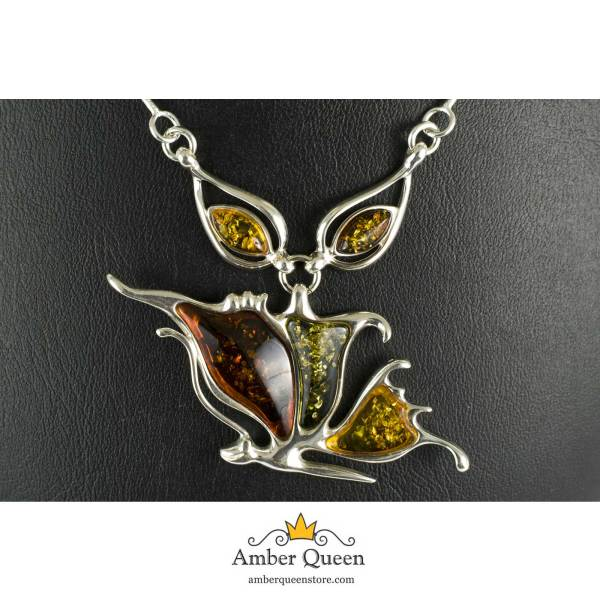 Silver Necklace with Multi Color Amber Stones Close