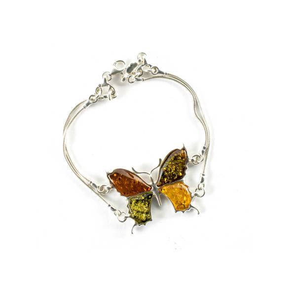 Thin Silver Butterfly Bracelet with Multi Color Amber Stones