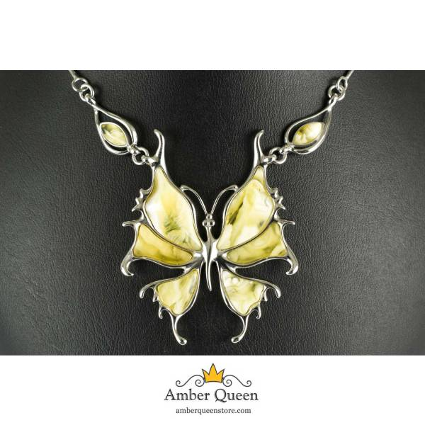 Butterscotch Amber Silver Butterfly Pendant Close