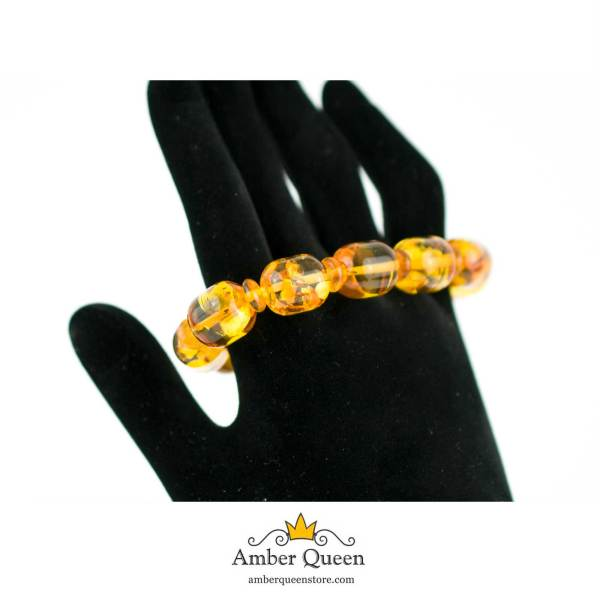 Lemon Barrel Beads Natural Amber Bracelet on Hand