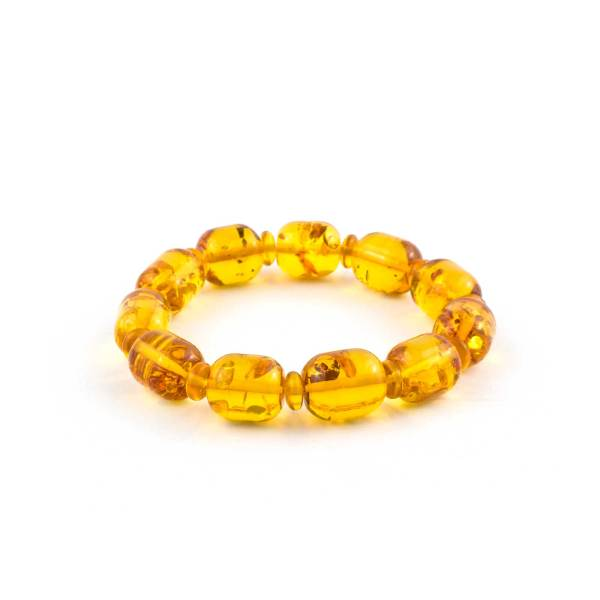 Lemon Barrel Beads Natural Amber Bracelet