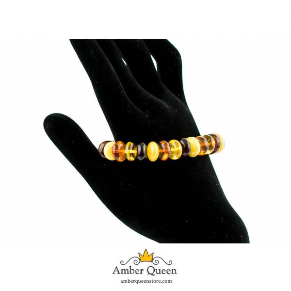 Multi Color Button Beads Bracelet on Hand