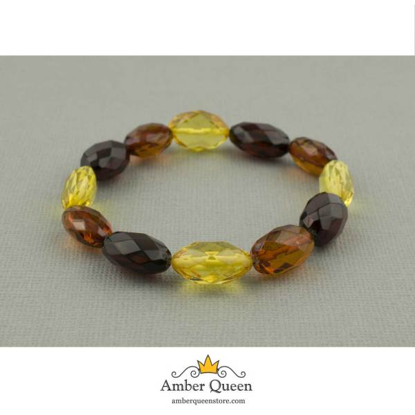 Colored Beads Faceted Amber Bracelet on Grey