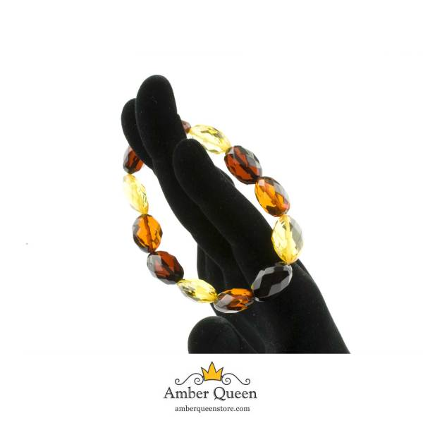 Colored Beads Faceted Amber Bracelet on Hand