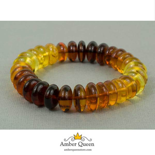 Rainbow Button Beads Amber Bracelet on Grey