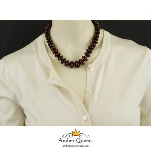 Solid Cherry Amber Necklace on Mannequin