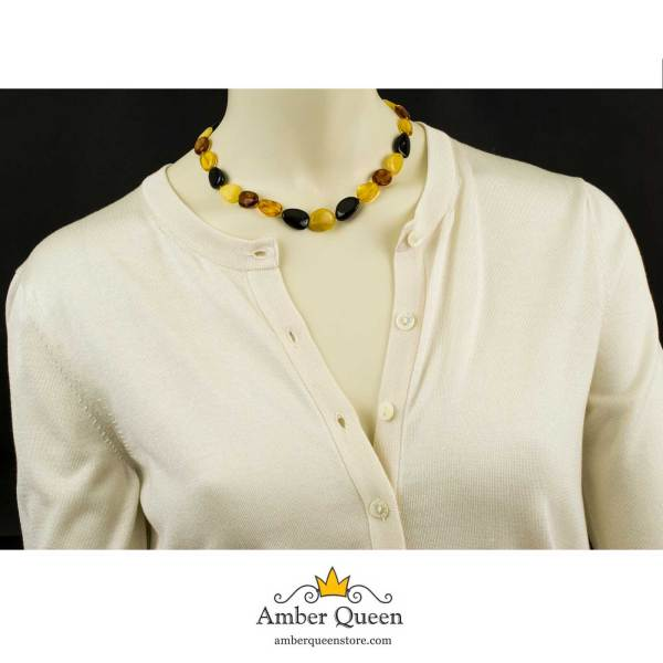 Bean Beads Amber Necklace on Mannequin