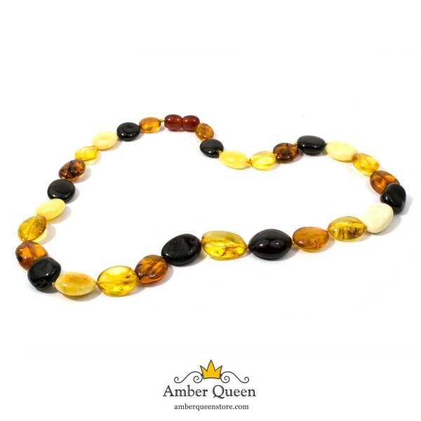 Bean Beads Amber Necklace on White