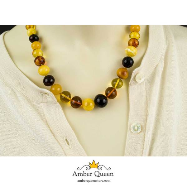 Colorful Baroque Beads Amber Necklace on Mannequin Closeup