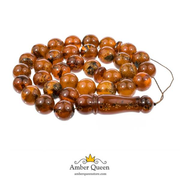 Embossed Round Amber Prayer Beads