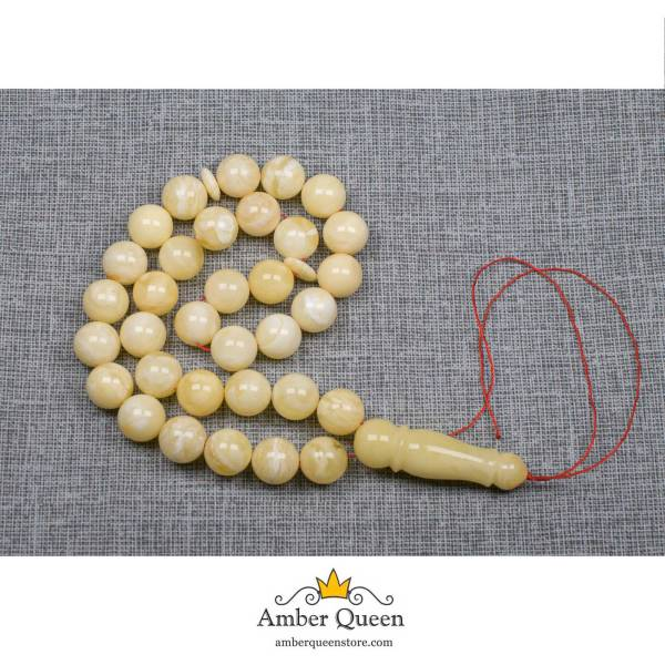 White Matte Round Amber Prayer Beads with Texture