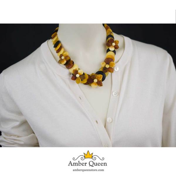 Unpolished Disc Beads Colorful Amber Necklace with Flowers on Mannequin