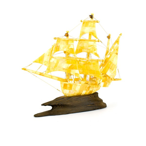 Ship Figurine from Natural Baltic Amber