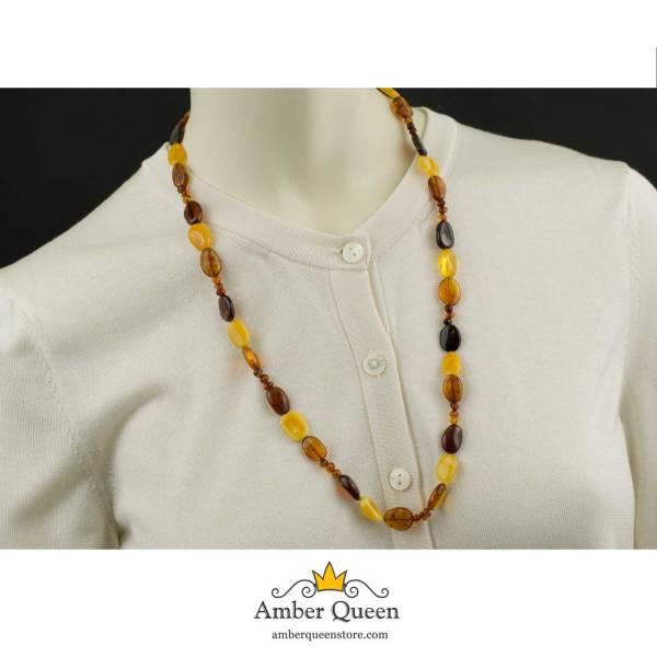Long Multicolor Amber Necklace
