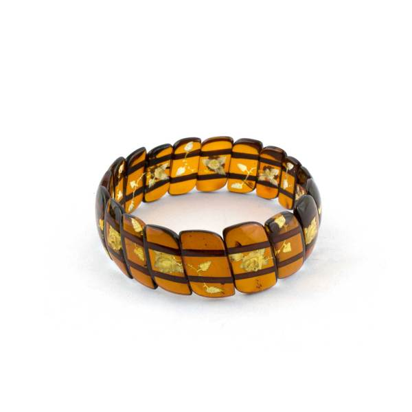 Cognac Amber Bracelet With Engraved flowers