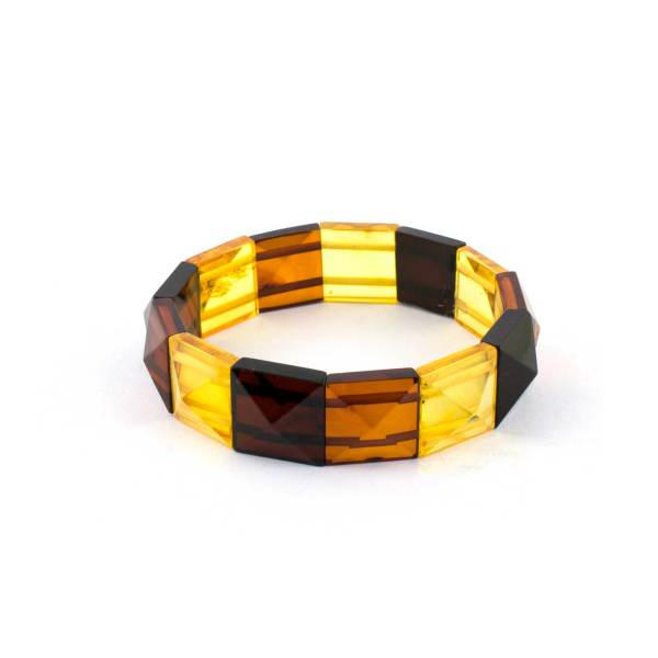 Multicolor Pyramid Amber Bracelet