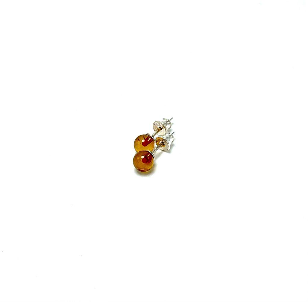 Apvalūs, rusvo gintaro auskarai 6mm Sidabras 925, Round cognac amber earrings 6mm Sterling silver