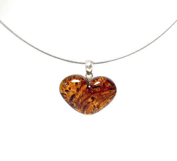Tamsaus konjako gintaro širdelė pakabukas Sidabras 925, Dark cognac amber heart pendant Sterling silver