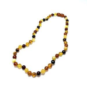 Vaikiški gintaro karoliai - įvairiaspalviai šaratėliai, Baby amber necklace - multicolored beads