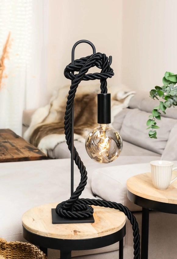 Lampe de table potence métal noir corde tissu noir