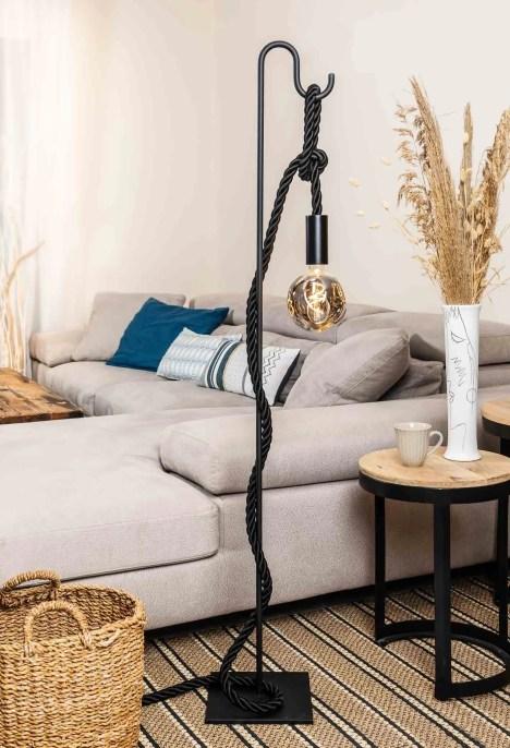 Lampadaire potence en métal noir corde tissu noir