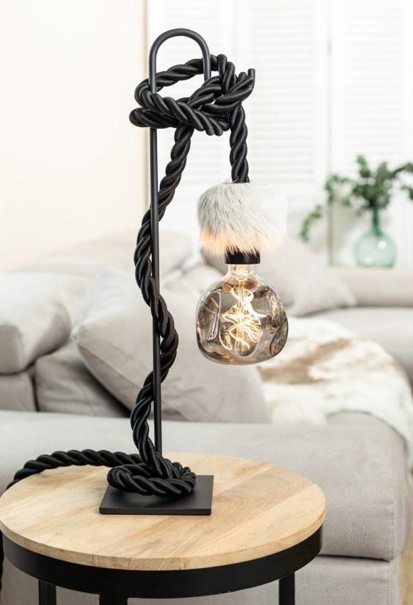 Lampe de table potence métal noir corde tissu noir peau de renne